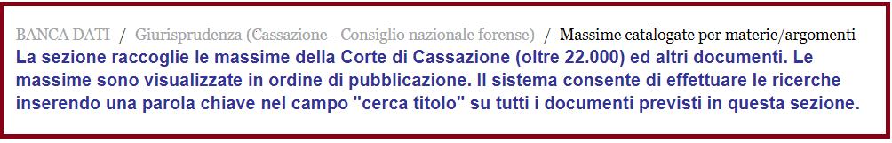 (CNF11A - 11B) Deontologia forense -Il compenso dell'Avvocato - Foroeuropeo banner_banca_dati_cassazione_materie